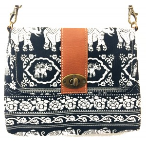 Vegan / Cruelty  Free Mini Hand Bag with detachable adjustable strap - White Elephants on Black Design - Fair Trade