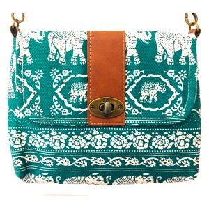 Vegan / Cruelty  Free Mini Hand Bag with detachable adjustable strap - White Elephants on Turquoise  Design - Fair Trade
