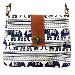 Vegan / Cruelty  Free Mini Hand Bag with detachable adjustable strap - Blue Elephants on White  Design - Fair Trade