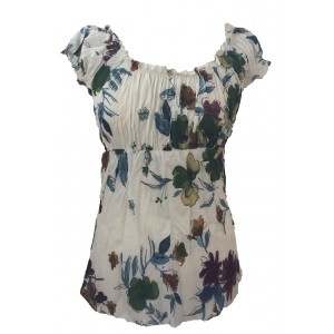 Lovely White Floaty Bold Floral Print Emily Blouse -  On the shoulder or off the Shoulder - Fair Trade 100% Cotton