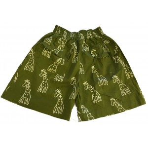 Kids Olive Green Classic Giraffe Design Shorts Ages 1 - 5 - Fair Trade
