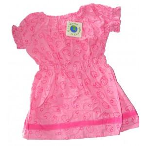 Girls Cotton Summer Dress - Classic Pink Strawberry Print  - Fair Trade