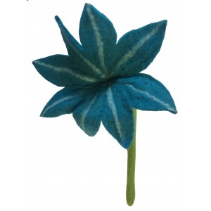 Beautiful handmade medium blue chrysanthemum felt flower - fair trade
