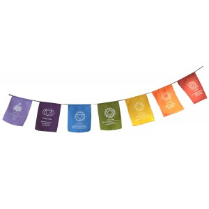 Chakra Meditation Prayer Flags - Multicoloured - Hand Made in Bali - Fair Trade