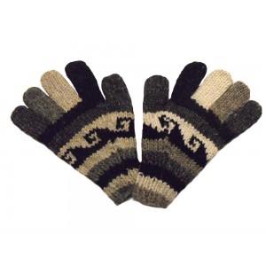 Fair Trade Handknitted Woollen Black and White Gloves with Tibetan Design