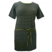 Classic Black & Green Stripey Dress - 100% Cotton - Fair Trade