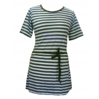 Classic Cotton White & Green Stripey Dress - Fair Trade