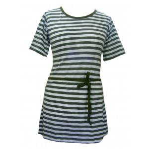 Classic Cotton White & Green Stripey Dress - Fair Trade