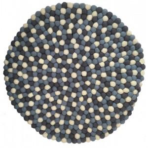 Beautiful Handmade Tactile Felt Blue & White Ball Rug from Nepal - 60 cm diameter- 100% Wool - Fair Trade