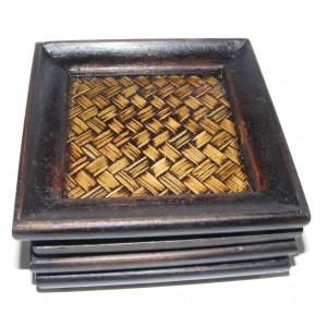 Set of 4 Stylish Rattan and Dark Wood Coasters - Fair Trade