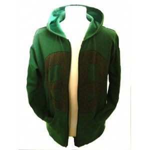 Fair Trade Green Retro Peace Hoodie