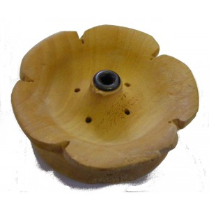 Round Wooden Tibetan Incense Holder - Lotus Flower Design - Fair Trade