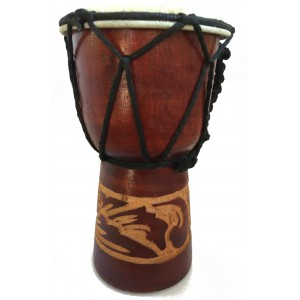 Authentic African Style 15 cm high Hand Carved Djembe Drum - Fair Trade