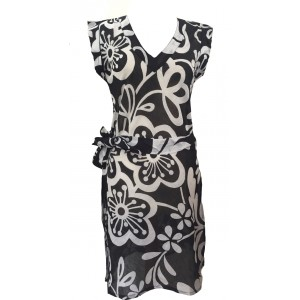 Black & White Short Cotton Summer Dress / Long Top / Kaftan Beautiful Carina Design - Fair Trade