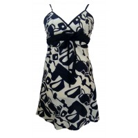 Short Black and White Friesian Print Florence Dress / Sundress - Fair Trade