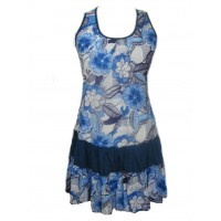 Short Cotton Blue / White Flower Print Sundress / Short Shift Dress - Bold Pippa Design - Fair Trade
