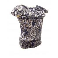Blue / White Ruffle Collar Blouse - Beautiful Jasmine Print - 100% Floaty Cotton - Fair Trade
