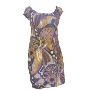 Yellow / Brown Bold Patterned Short Cotton Summer Dress / Long Top - Beautiful Shelley Design Fair Trade