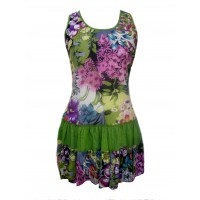 Short Cotton Multicoloured Flower Print Sundress / Short Shift Dress - Bold Pippa Design - Fair Trade