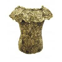 Green / White Ruffle Collar Blouse - Beautiful Jasmine Print - 100% Floaty Cotton - Fair Trade