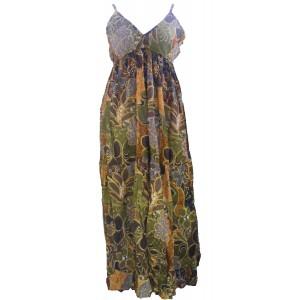 Earthy Brown Flower Print Long Cotton Summer Maxi Dress  - Floaty Louisa Design - Fair Trade