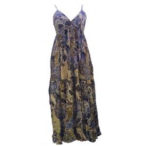 Blue, Green & Grey Flower Print Long Cotton Summer Maxi Dress  - Floaty Louisa Design - Fair Trade