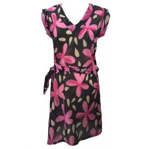 Pink Flower Print Short Cotton Summer Dress / Long Top / Kaftan Beautiful Carina Design - Fair Trade
