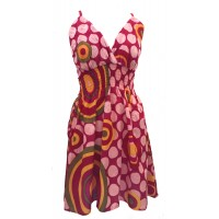 Bright Pink Colourful Dotty Short Summer Dress/Party Dress - Fair Trade 100% Cotton