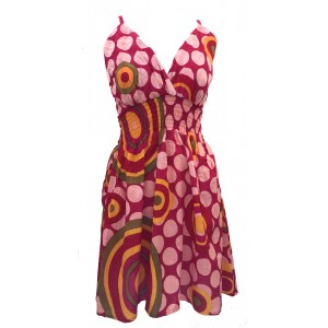 Bright Pink Colourful Dotty Short Summer Dress/Party Dress - Fair Trade 100% Cotton