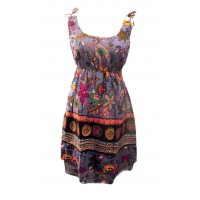 Cotton Colourful Short Strappy Sundress - Purple Exotic Bird Print - Fair Trade