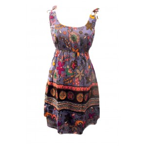 Cotton Colourful Short Strappy Sundress - Purple Exotic Bird Print - Fair Trade
