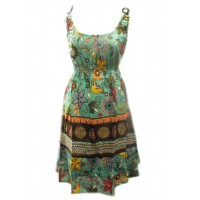 Cotton Colourful Short Sundress -  Turquoise Exotic Hattie Bird Print - Fair Trade
