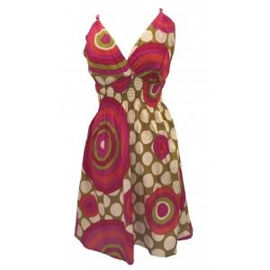 Bright Yellow / Green Colourful Dotty Short Summer Dress/Party Dress - Fair Trade 100% Cotton