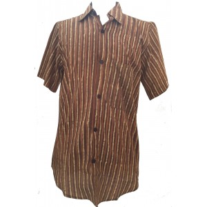 Light Brown / Dark Brown Striped Blockprint Cotton Mens Short Sleeve Shirt - Fair Trade
