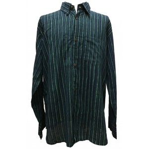 Blue / Green Striped Blockprint Cotton Mens Long Sleeve Shirt - Fair Trade
