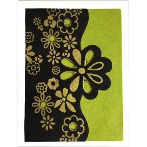 Fair Trade Handmade Nepali Lokta Paper Green, Black & Gold Flower Book