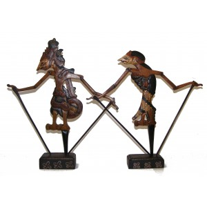 Genuine Traditional pair of Small Rama and Sinta Wayang Klitik Flat Wooden Rod Puppets