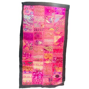 Rajasthani Embroidered Wall Hanging - Beautiful Pink Traditional Rajasthani Design - Unique Work of Art