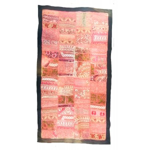 Rajasthani Embroidered Wall Hanging - Beautiful Pink / Peach Traditional Rajasthani Design - Unique Work of Art