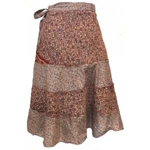 Fair Trade Short Sari Silk  Reversible Tiered Wrap Skirt - Brown Tiered Design