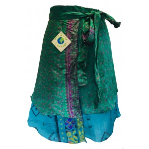 Fair Trade Short Sari Silk  Reversible Wrap Skirt - Blue / Green Design