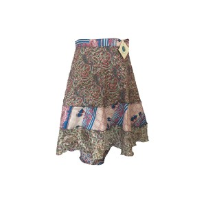 Fair Trade Short Sari Silk  Reversible Tiered Wrap Skirt - Blue / Grey Design