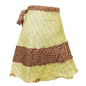 Fair Trade Short Sari Silk  Reversible Tiered Wrap Skirt - Yellow / Green Design