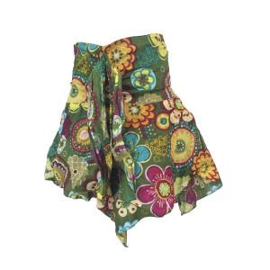 Fair Trade Colourful Short Cotton Belinda Elasticated  Jungli  Skirt - Olive