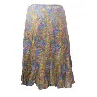 Fair Trade Cotton Jalabi Skirt - Yellow Pink Paisley Print