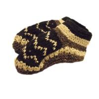 Handknitted Fair Trade Woollen Black & White Fleece Lined Tibetan House Slippers