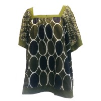 Green Square Neck Loose Fit Indian Cotton Rita Blouse - Fair Trade