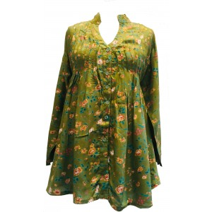 Olive Green Floaty Loose Fit Pleated Blouse - Fair Trade