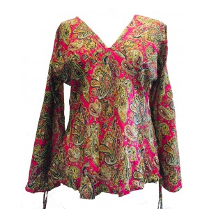 Floaty Cotton Pink Paisley Print V Neck Top / Baba Blouse - Fair Trade