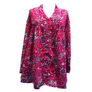 Pink Floaty Loose Fit Pleated Blouse - Fair Trade